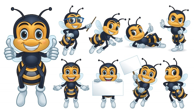 Collection De Personnages Mascotte Abeille Vecteur Premium