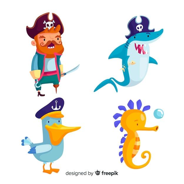Collection de personnages de mer dessinés à la main Vecteur gratuit