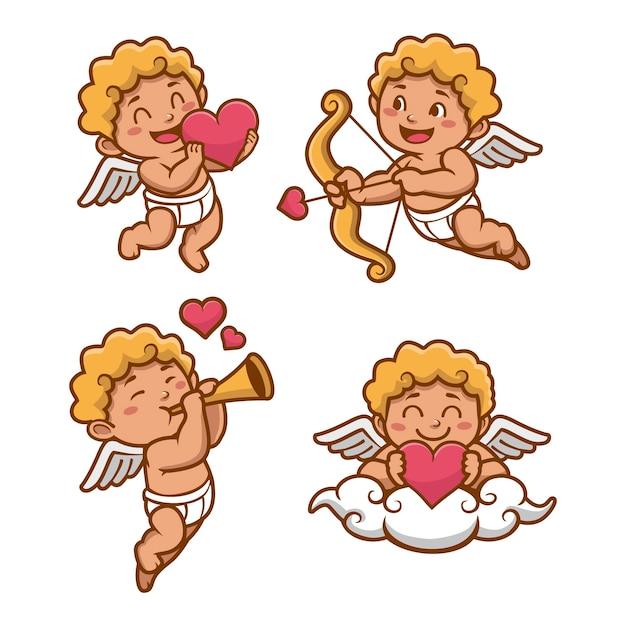 Collection De Personnages Mignon Cupidon Plat Vecteur gratuit