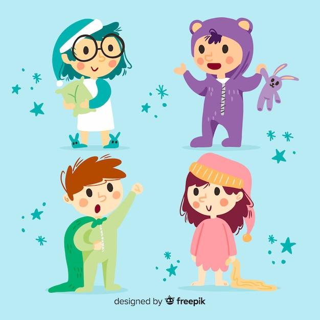 Collection de personnages mignons enfants au design plat Vecteur gratuit