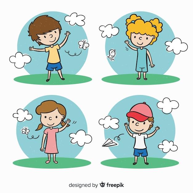 Collection de personnages mignons enfants dessinés à la main Vecteur gratuit