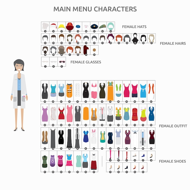 Collection de personnages de mode Vecteur gratuit