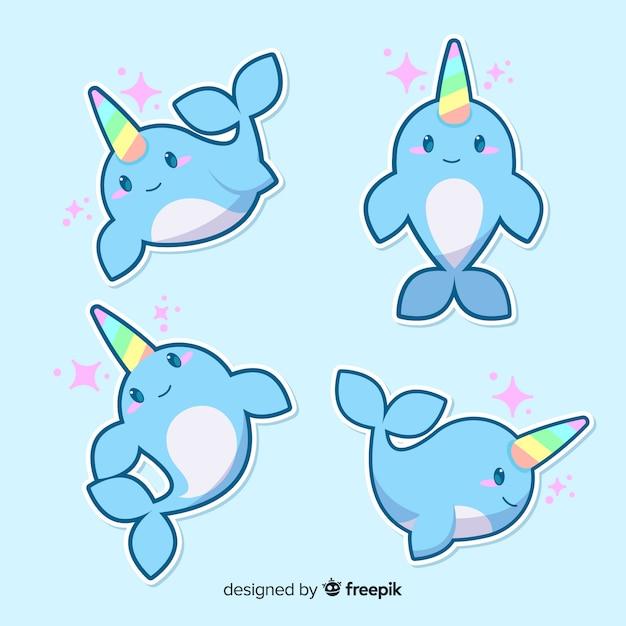 Collection de personnages de narval kawaii Vecteur gratuit