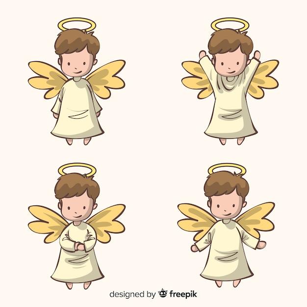 Collection de personnages de noël anges dessinés à la main mignonne Vecteur gratuit