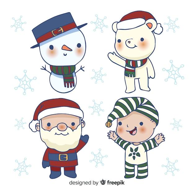Collection de personnages de noël dessinés à la main Vecteur gratuit