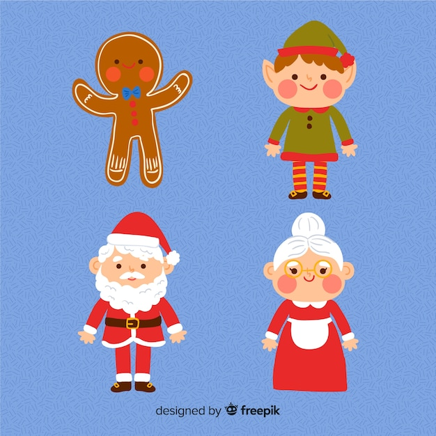 Collection de personnages de noël dessinés à la main Vecteur gratuit