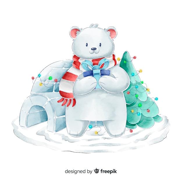 Collection de personnages de noël ours aquarelle Vecteur gratuit