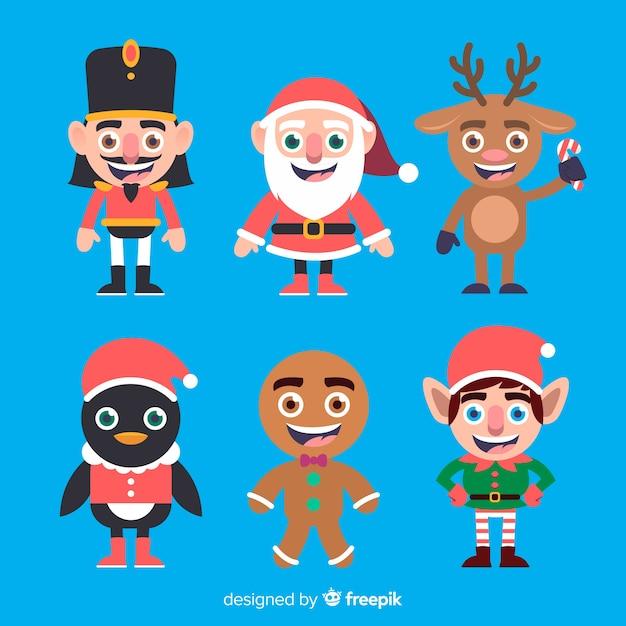 Collection de personnages de noël plat souriant Vecteur gratuit