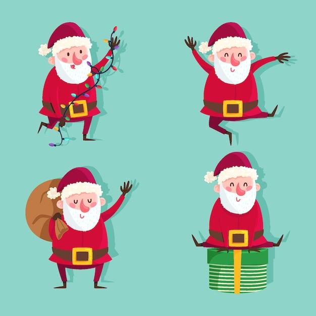 Collection De Personnages De Père Noël Dessinés à La Main Vecteur gratuit