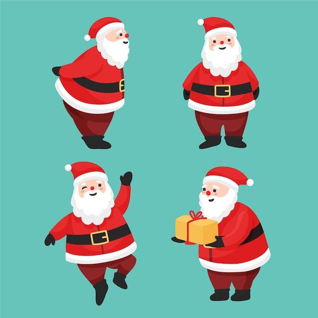Collection De Personnages De Père Noël Dessinés à La Main Vecteur Premium