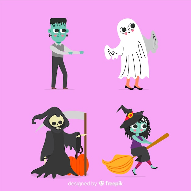 Collection de personnages de plat halloween Vecteur gratuit