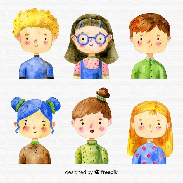 Collection de personnages pour enfants Vecteur gratuit