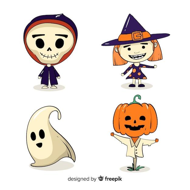 Collection de personnages de stickers pour halloween Vecteur gratuit