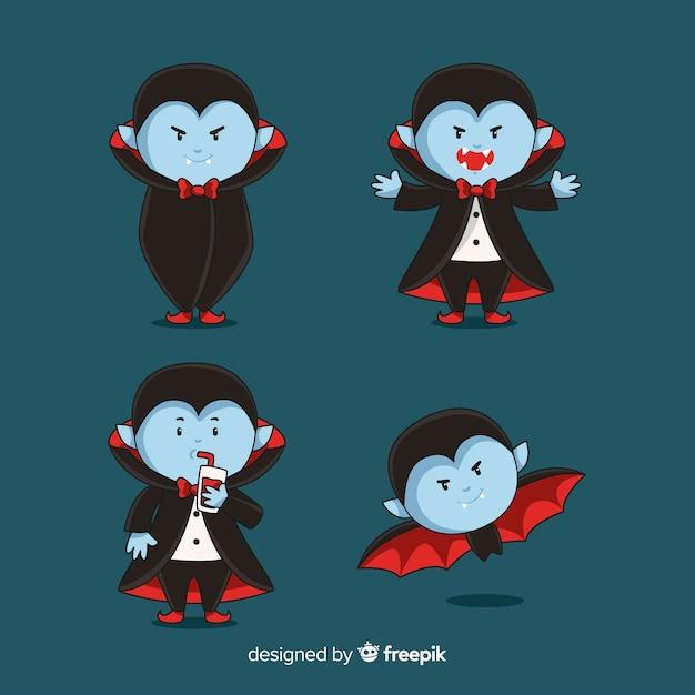 Collection de personnages de vampire dessinés à la main Vecteur gratuit