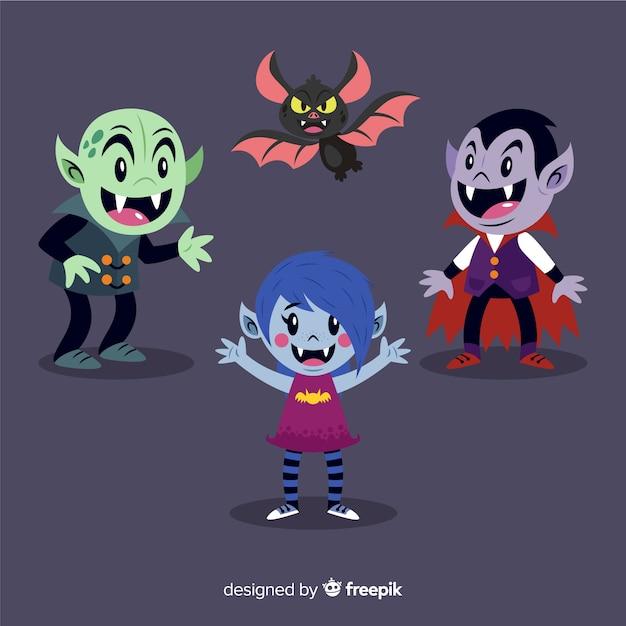 Collection de personnages de vampire plat avec batte Vecteur gratuit