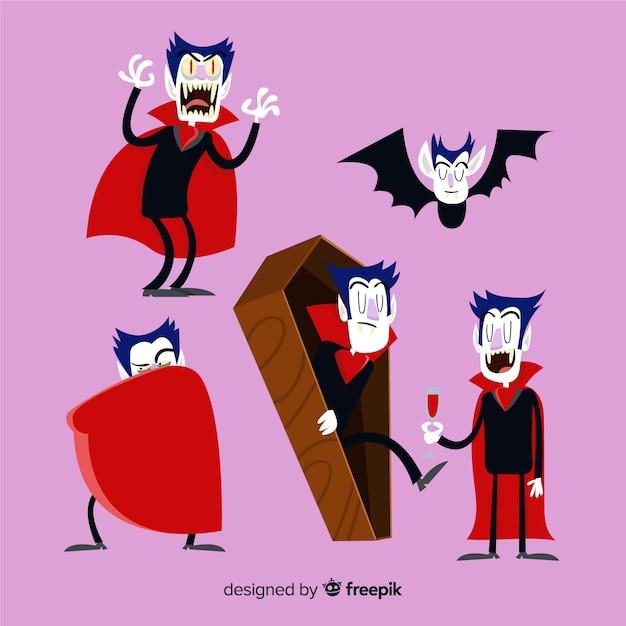 Collection de personnages de vampires d'halloween dans différentes positions Vecteur gratuit