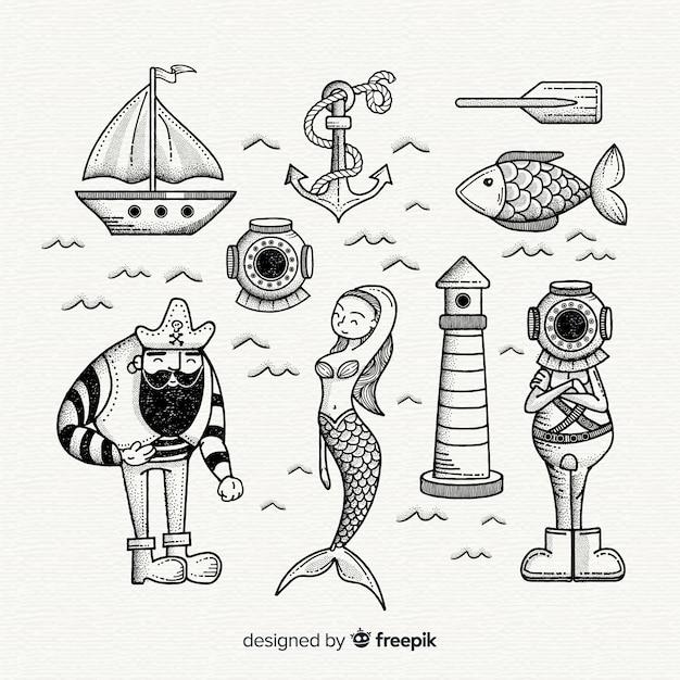 Collection de personnages de la vie marine dessinés à la main Vecteur gratuit