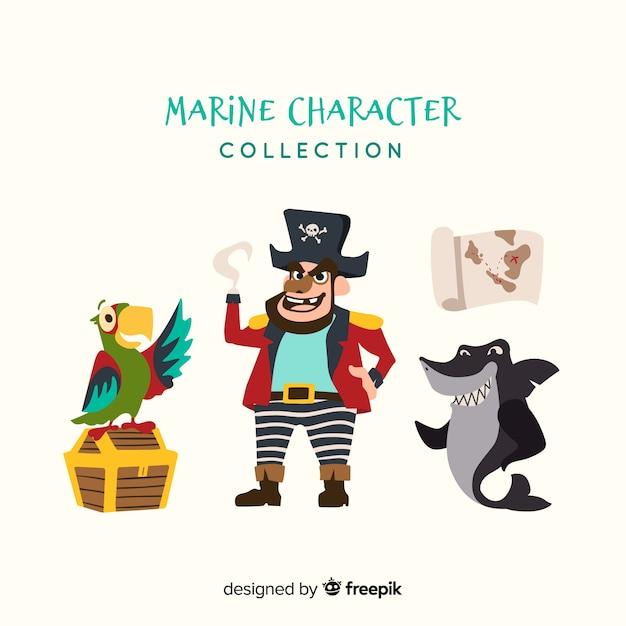 Collection de personnages de vie marine plate Vecteur gratuit