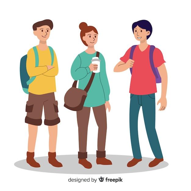 Collection de personnes allant à l'université Vecteur gratuit