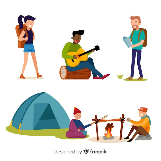 Collection de personnes camping design plat Vecteur gratuit