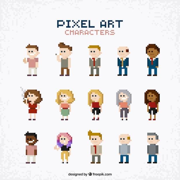 Collection de personnes dans le style pixel art Vecteur gratuit