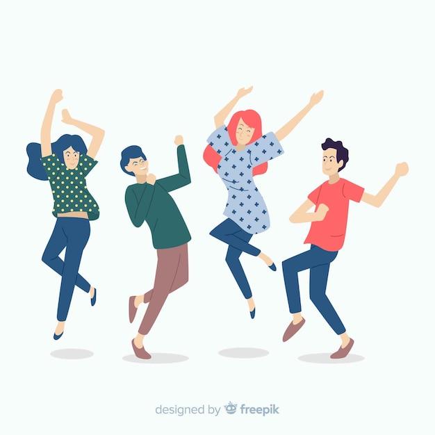 Collection de personnes dansant dessinés à la main Vecteur gratuit