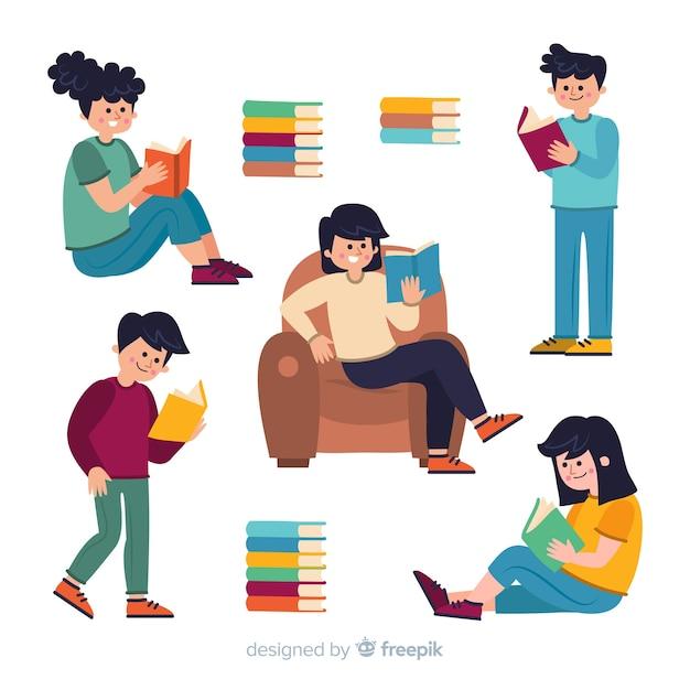 Collection de personnes illustrées qui étudient Vecteur gratuit