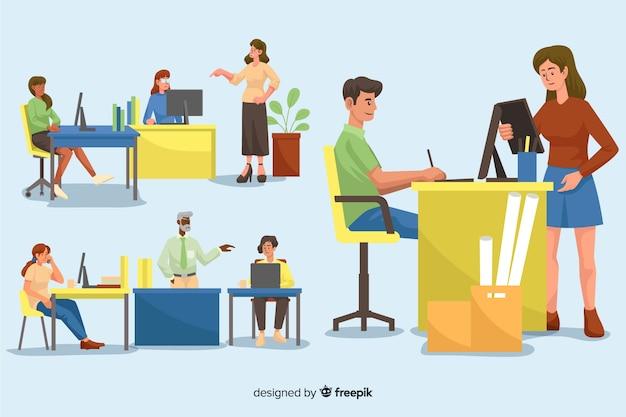Collection de personnes illustrées travaillant à leurs bureaux Vecteur gratuit