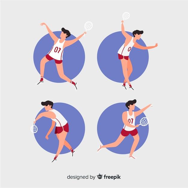 Collection de personnes jouant au badminton Vecteur gratuit
