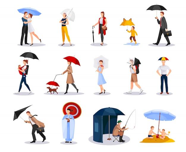 Collection personnes avec parapluies Vecteur gratuit