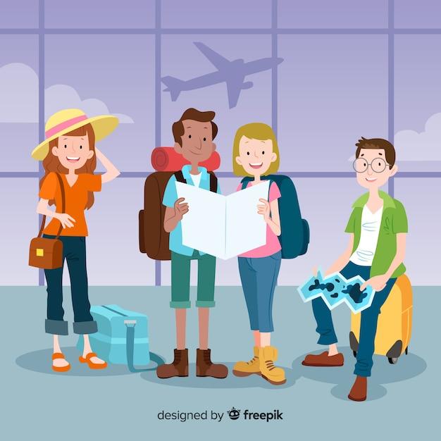 Collection de personnes voyageant dessinés à la main Vecteur gratuit