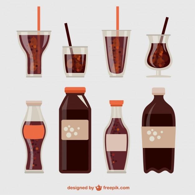 Collection pétillante de boissons gazeuses Vecteur gratuit