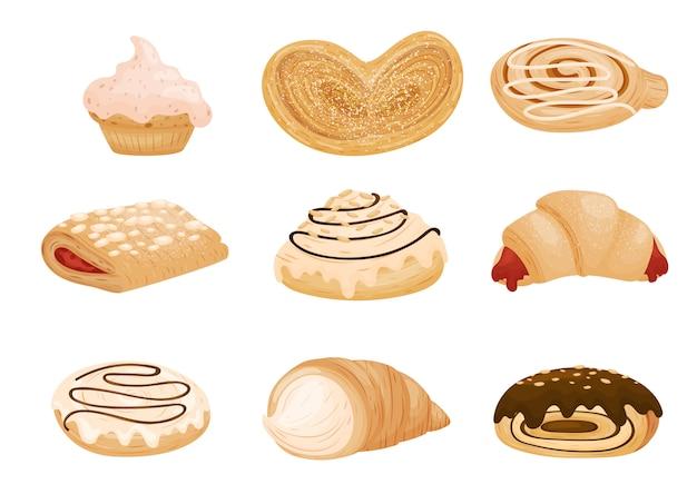 Collection De Petits Pains Et Biscuits. Illustration Sur Fond Blanc. Vecteur Premium