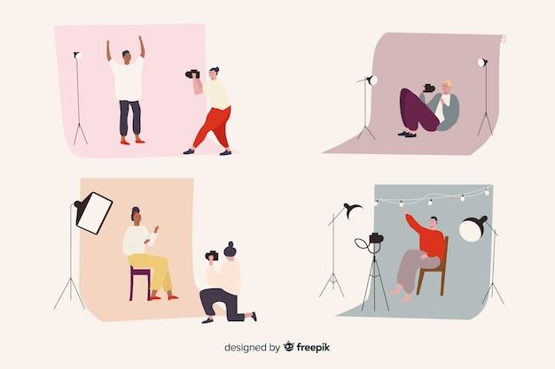 Collection de photographes illustrés prenant différents plans Vecteur gratuit
