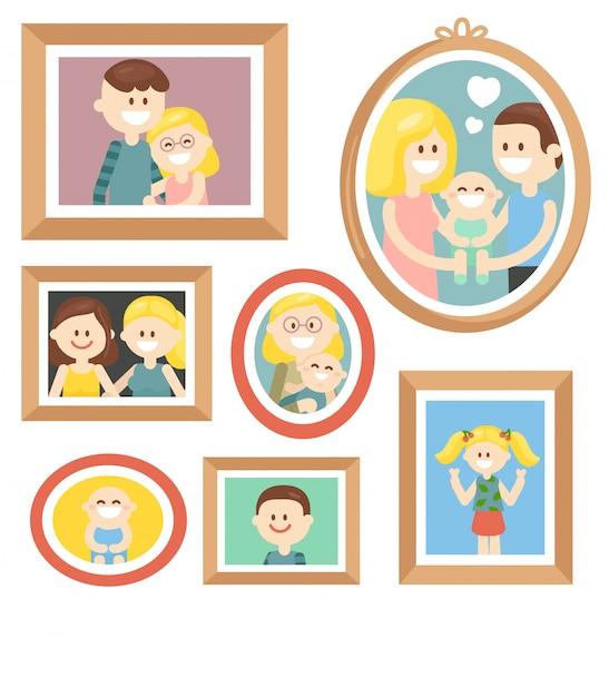 Collection de photos de famille de bande dessinée dans le cadre Vecteur Premium