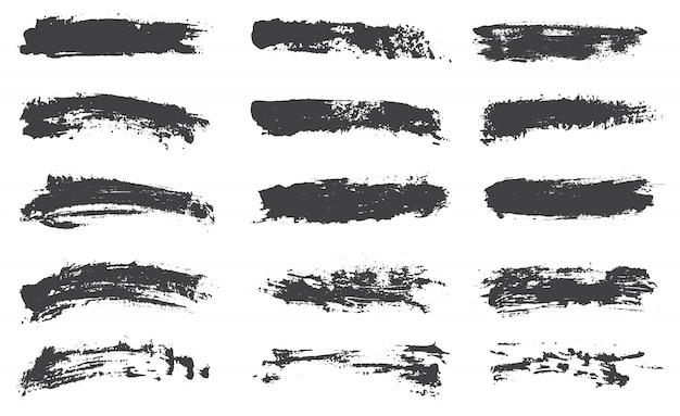 Collection de pinceaux noirs Vecteur Premium