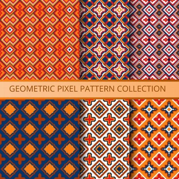 Collection de pixels colorés modèles sans couture Vecteur gratuit