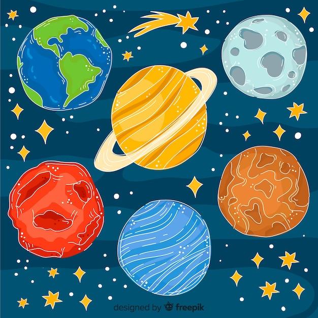 Collection De Planète Dessiné à La Main Dans Un Style Doodle Vecteur gratuit