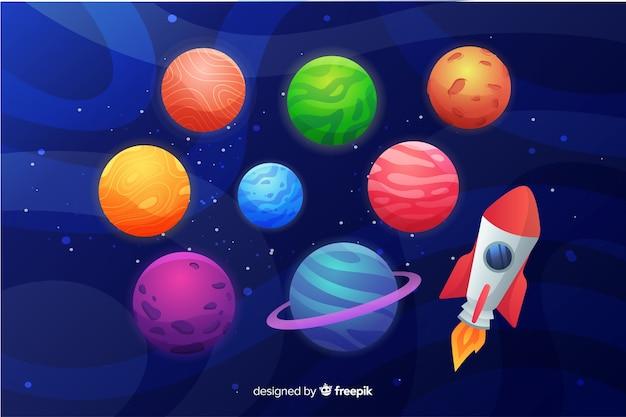 Collection planète plate avec fusée spatiale Vecteur gratuit