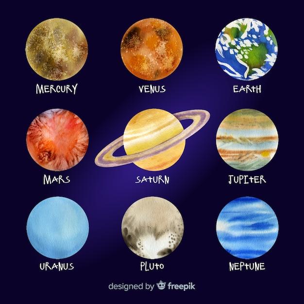 Collection de planètes aquarelles colorées Vecteur gratuit