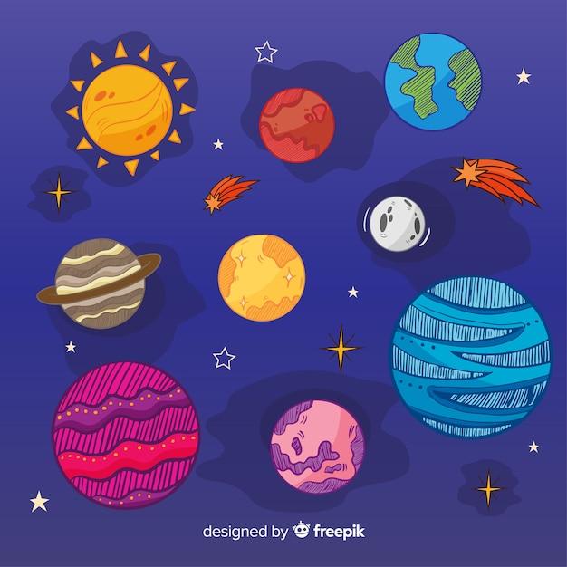 Collection De Planètes Colorées De La Voie Lactée Vecteur gratuit