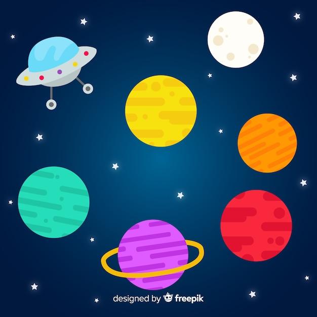 Collection De Planètes Design Plat Vecteur gratuit