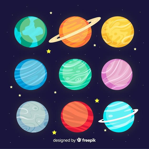 Collection De Planètes Dessinées à La Main Vecteur gratuit