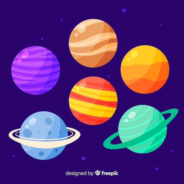 Collection De Planètes Mignonnes Dessinées à La Main Vecteur gratuit