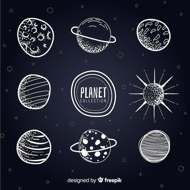 Collection De Planètes De Voie Lactée Noir Et Blanc Vecteur gratuit
