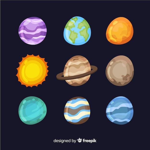 Collection De Planètes De Voie Lactée Vecteur gratuit