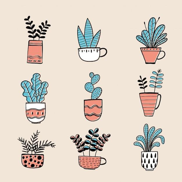 Collection de plantes dessinées à la main dans un pot. Vecteur Premium