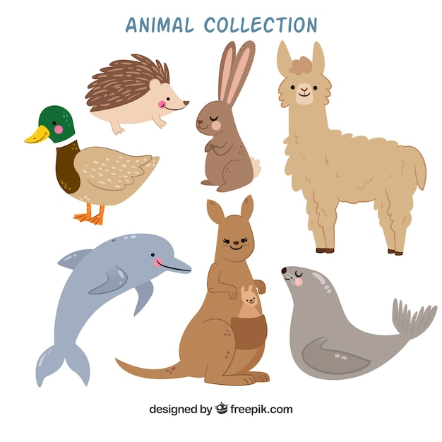 Collection Plate D'animaux Souriants Vecteur gratuit
