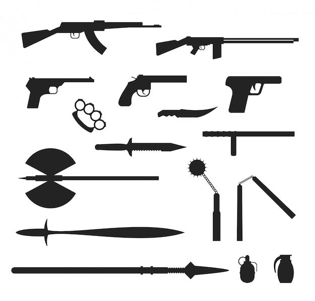 Collection plate d'armes isolée sur fond blanc Vecteur Premium