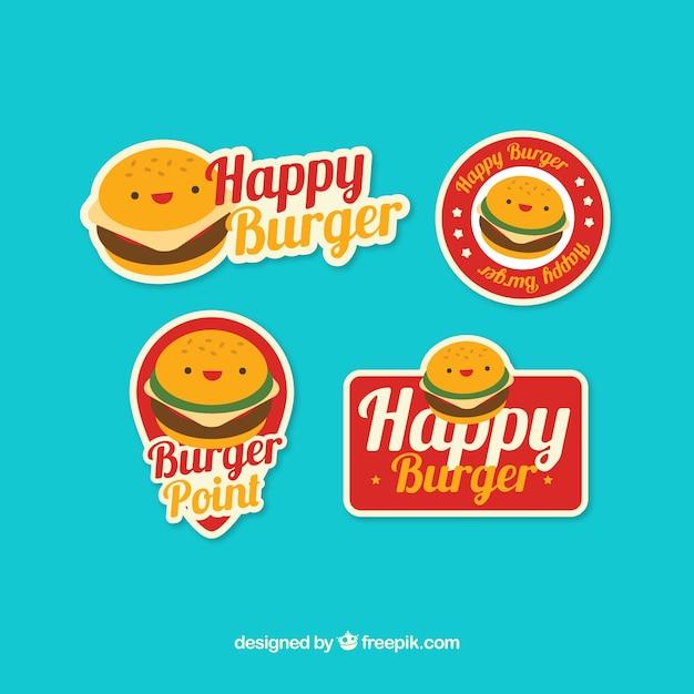 Collection Plate De Logos Avec Des Personnages De Hamburger Vecteur gratuit